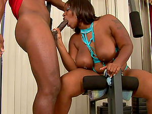 Plowing Ebony BBW Skyy Black in the Gym