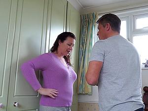 Mature brunette amateur MILF Eva Jayne gets her hairy pussy pounded