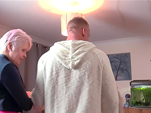 Mature short haired granny Lady Sextacy bounces on a hard cock
