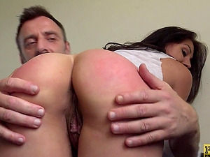 Submissive tattooed slut Nayomi Sharp throat filled with cock and cum