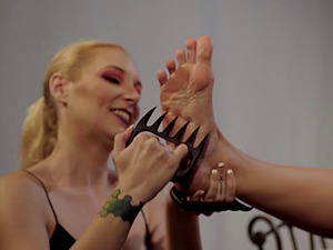 Submissive brunette lesbian slave tortured hardcore by her mistress