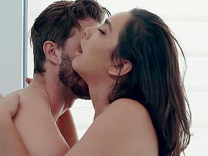 Curvy Latina bombshell Karlee Grey rides a big dick in the bathroom