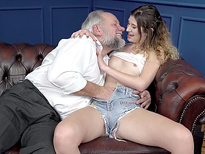 Teen with braces Candice Demelzza sucks and rides an old guy's dick