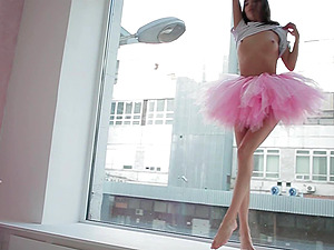 Beautiful Sveta dancing wearing a pink ballerina tutu dress