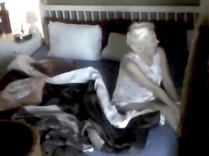 my hidden camera shows that my 50 year old blond wife likes to masturbate a lot