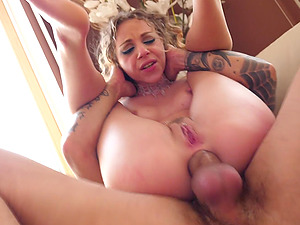 Blonde beauty Angel Emily ravaged and cum covered by two studs