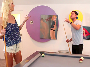 Blonde Brooke Banner has to fuck for loosing a game of pool