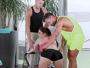 Redhead green eyed babe Lucia Love filled with cum in a threesome