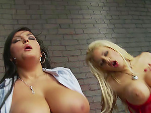 Busty whores Jasmine Black and Katie Kaliana in a hardcore foursome