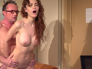 Slutty barely legal secretary Gisha Forza rides her old boss