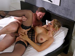 Blonde MILF with huge tits Vittoria Risi ass fucked in all positions