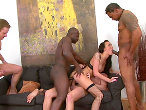 Hardcore interracial anal threesome with Belle Claire ravaged