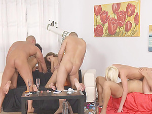Sophie Lynx and her slutty girlfriends in a hardcore group sex session