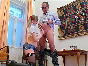 Blonde in leather boots and with pigtails Lucette Nice rides fat dick