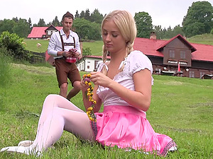 Blonde country girl with pigtails pounded doggy style hardcore