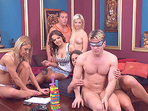 Hardcore group sex party with Cathy Heaven and Nikky Thorne