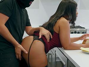 Buxom ebony babe in stockings Aryana Adin cum sprayed on her face