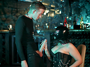Kinky bar missionary fuck with Ivy Lebelle in leather boots
