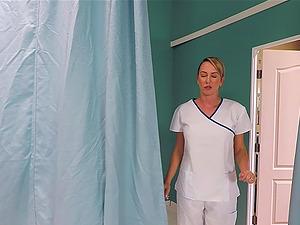 Slender blonde nurse Brett Rossi rides her patient for a cumshot