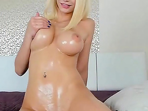Horny Russian blonde girlfriend on cam loves to finger herself