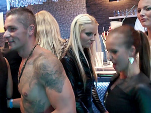 Hardcore group sex party with horny teens at the club