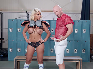 Football babe Bridgette B sprayed with cum after a good game