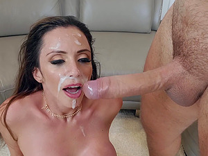 Busty Latina MILF Ariella Ferrera gets a huge facial after a hard fuck