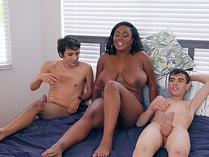 Chubby ebony MILF Layton Benton takes two big white dicks