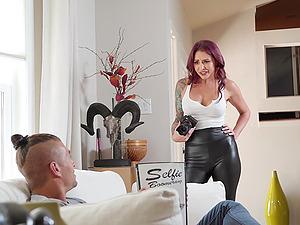 Purple haired MILF slut in leather pants Monique Alexander ass fucked