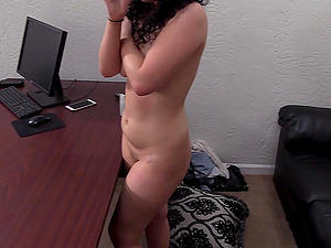 Curly haired amateur Hollie gets cum on face on the casting couch