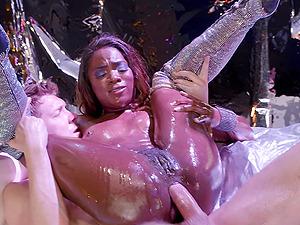Shinny wet ebony babe Ana Foxxx ass fucked and creampied