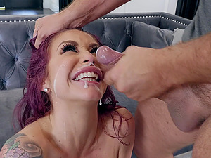 Tattooed bombshell MILF Monique Alexander sprayed with cum on face