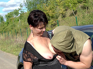 Mature granny with short hair Libuse force fed cock outdoors