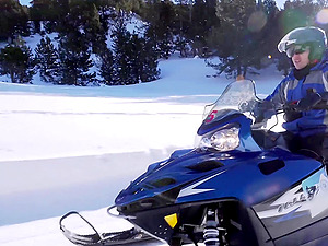 Clea Gaultier warms up after a snowy ride with a hard dick
