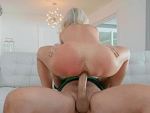 Blonde blue eyed MILF Sydney Hail impales herself on a dick for cum