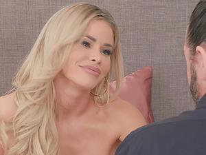 Thirsty blonde whore Jessa Rhodes gets cum on her face in lingerie