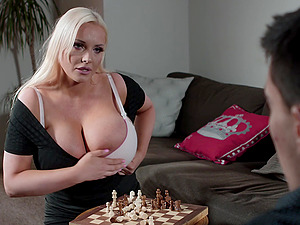 Blonde mature whore Jordan Pryce gets cum on her huge natural tits