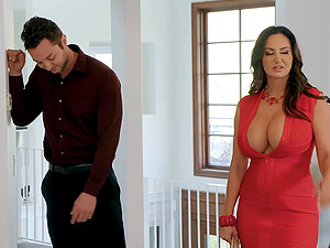 Huge tits on MILF bombshell Ava Addams sprayed with cum after a fuck