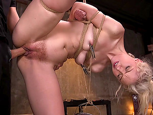 Pretty blonde Chloe Cherry fucked hardcore while tied up and gagged