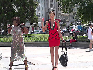 Ebony babe Sunny Star publicly humiliated by Tina Kay and strangers