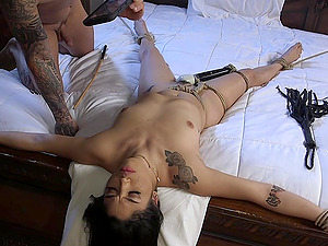 Latina bombshell babe Vanessa Sky ball gagged, tied up and abused