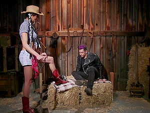 Asian shemale cowboy Venus Lux fucks her slave and strokes his dick