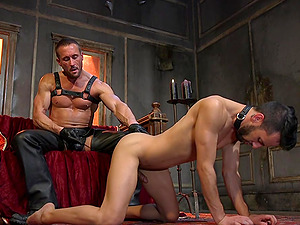 Hardcore BDSM gay session with buffed white and Latino dudes