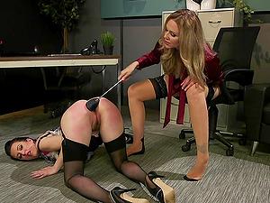 Spanking femdom lesbian intercourse with Cherry Torn and Julia Ann