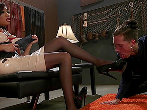 Mature Asian busty shemale Venus Lux missionary fucks a dude