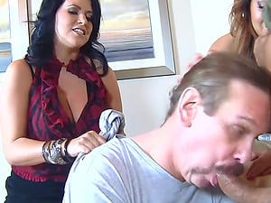 Femdom ball busting foursome with Baylee Lee and Lacie James