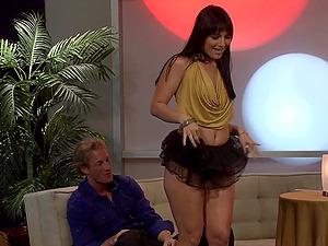 Slutty brunette vixen Ashli Orion gives a lap dance before a fuck