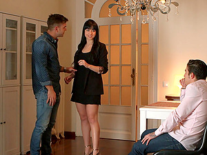 Petite brunette Taisha gets cum in mouth after a MMF threesome