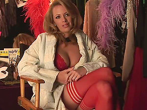 Sexy brown-haired hotty Sharae Spears gives an interview