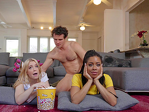 Interracial FFm threesome with Kira Noir and Anastasia Knight